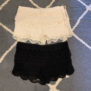 2 pairs of crochet lace shorts